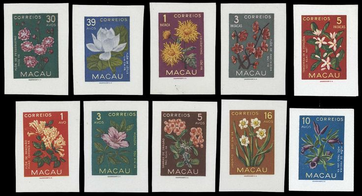 Un-perforated Flowers 1953 series. ULTRA RARE. I haven't yet found a catalogue listing these, be it Stanley Gibbons, Afinsa, Yvert or any of the Asian catalogues.