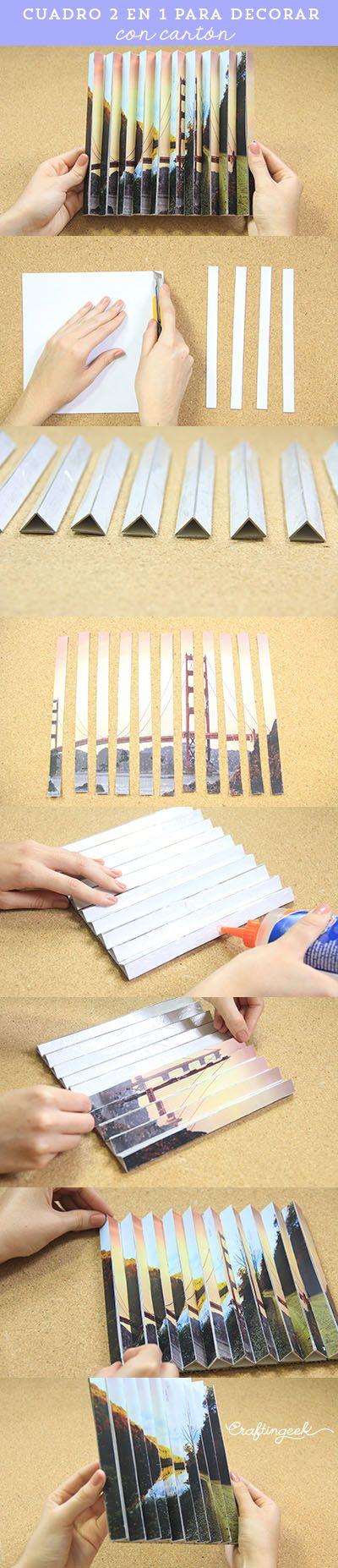 Manualidad con cartón fácil: cuadro doble vista con 2 fotografías.
