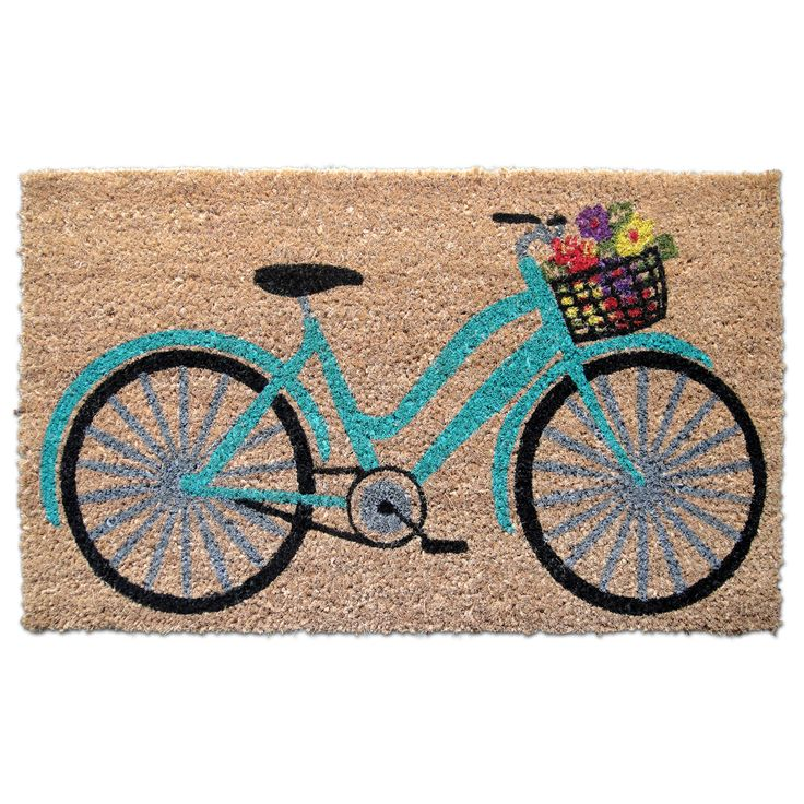 Teal Floral Bicycle Doormat - Home - Home Decor - Rugs