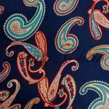 Tecido Viscose Estampada - Bandana Fundo Azul Marinho - 0,50x1,40mt
