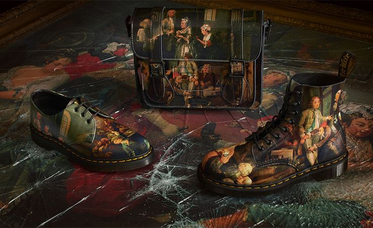 Huzzah! The Hogarth Collection is here! Dr. Martens has collaborated with the Soane Museum to depict Hogarth's Rake's progress in Boots, shoes and a satchel. A must have for every Gorgeous Georgian!
