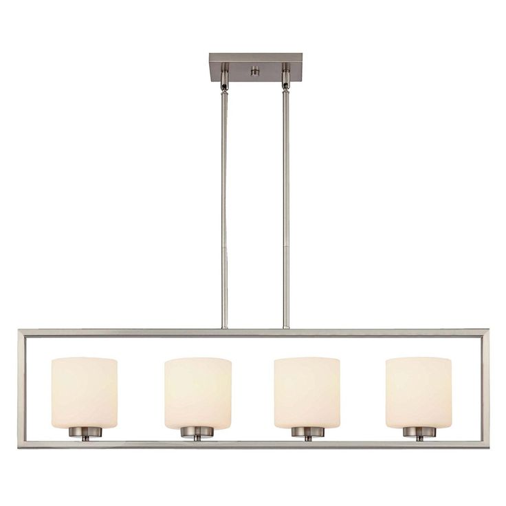 canarm lighting ich423a04bn leigha 4 light rod chandelier in brushed nickel linear island