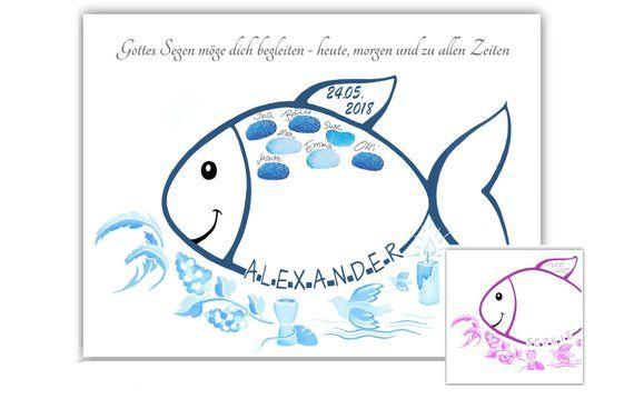 Tauffisch, Fingerabdruck Fisch Taufe – Taufgeschenk – Geschenk zur Taufe personalisiert – A3 Poster – Taufen