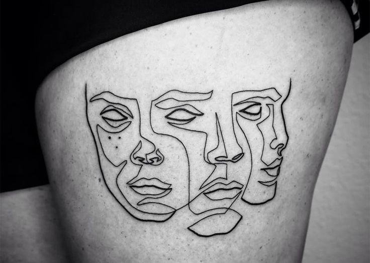 three faces, portrait tattoo, line art by mo ganji