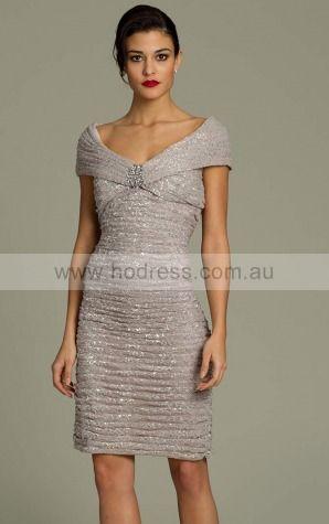 Sheath Off The Shoulder Natural Short Sleeves Knee-length Evening Dresses zgh061--Hodress