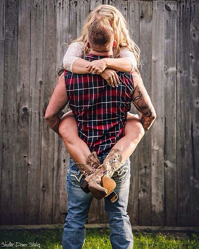 Our engagement photo❤️ #countryengagement #mrandmrsmckone #love #cowboyboots #flannels Photocred: Shutter Down Studio