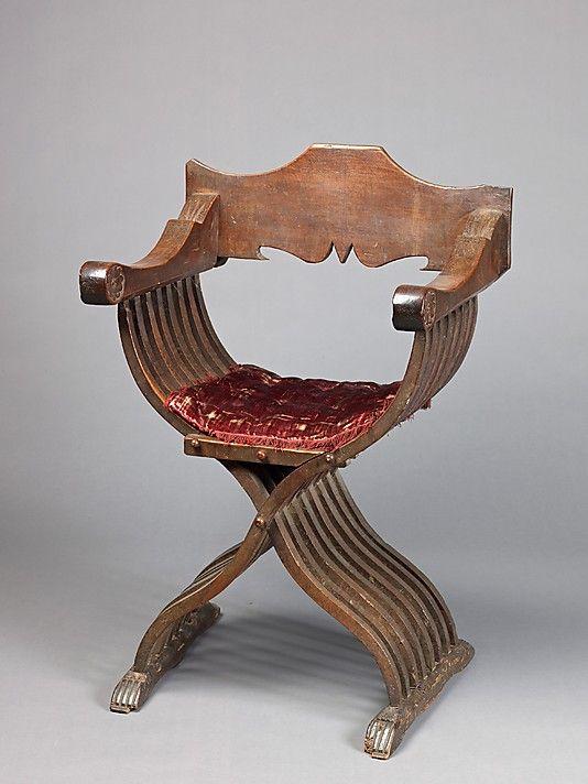 Savonarola Chair (a) and Cushion (b) 15th Century, Italy Wood; silk; linen