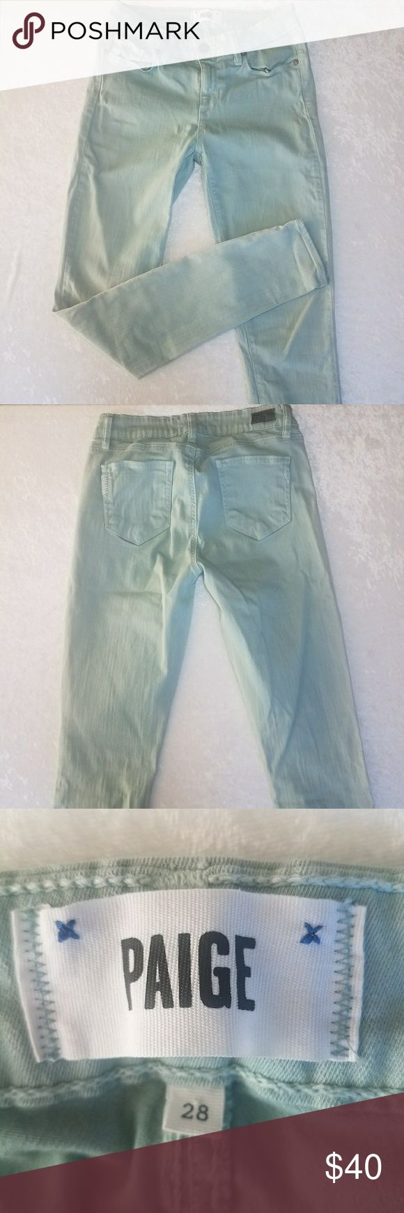 Paige mint green pants size 28 skinny jeans Flat lay waist 13.5 inches Rise 8.5 inches  Length 29.5 inches Opening 5 inches PAIGE Jeans