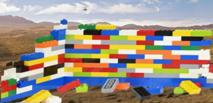the all new us-mexico border wall brought to you by Lego for all the junior wall builders