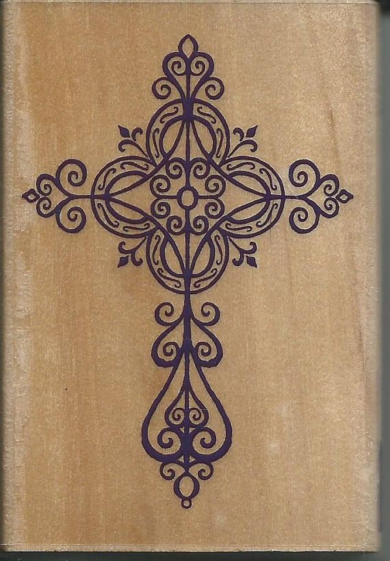 Elegant Cross Stamp  NEW  Wood Mounted by CynthiasCraftingNook