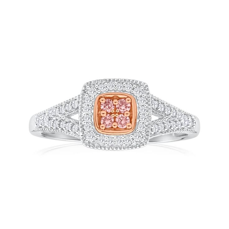 Diamond halo ring, pave diamond on the band and pink argyle diamond centre stones. This ring has it all.