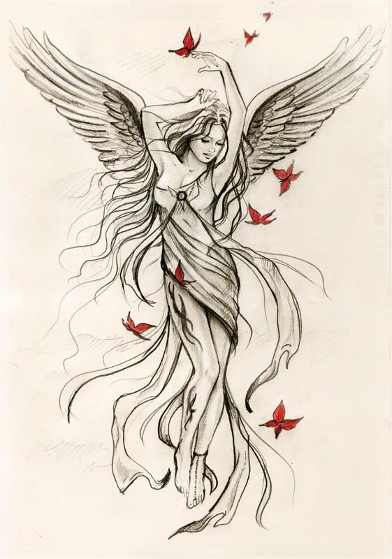 Sky angel sketch (for Spiral direct) by *Anna-Marine on deviantART. Would make a pretty tattoo.