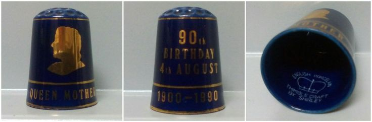 90th Birthday 4th August 1900-1990 Queen Mother Thimble craft By Shirley. Inglaterra