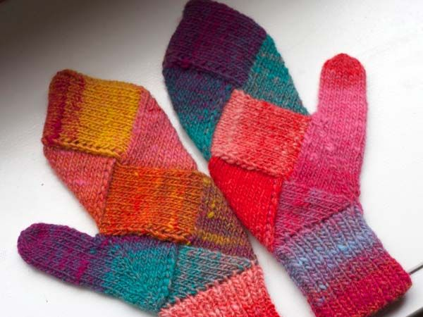 entrelac mittens