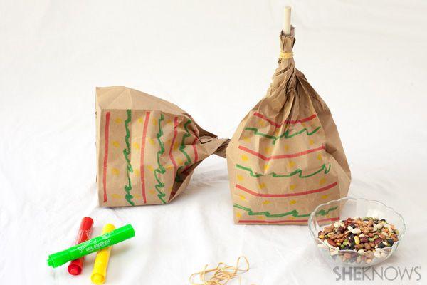 Cinco de Mayo crafts - Lunch bag maracas  @SheKnows #crafts #kids #cincodemayo