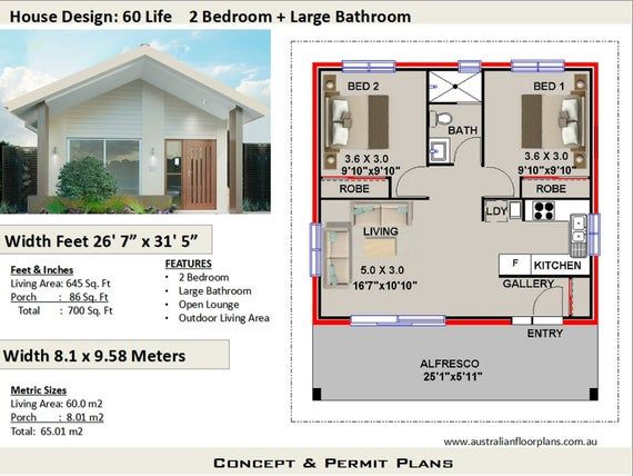 2 Bedroom House Plan 700 Sq Feet Or 65 M2 2 Small Home Design Small Home Design 2 Bedroom Grann In 2020 Flat House Design Small House Plans House Plans Australia