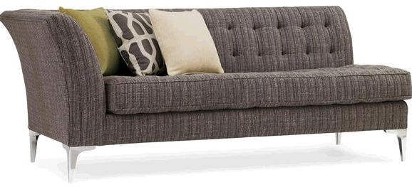 Стильный современный диван с одним левым подлокотником, на металлических ножках. Серый практичный цвет разбавлен цветными декоративными подушками. Применена стяжка капитоне. Высота сиденья составляет 50 см., высота подлокотника 79 см. Ширина сиденья 168 с...             Метки: Маленькие диваны.              Материал: Металл, Ткань.              Бренд: Schnadig.              Стили: Скандинавский и минимализм.              Цвета: Серый.