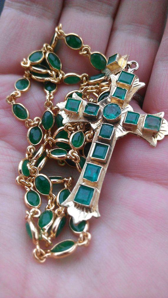 Emerald Cross and chain