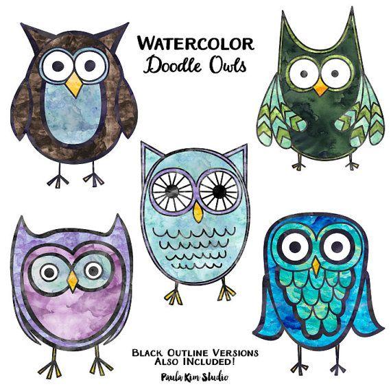 Watercolor Owl Clipart, Owl Clip Art, Digital Instant ...