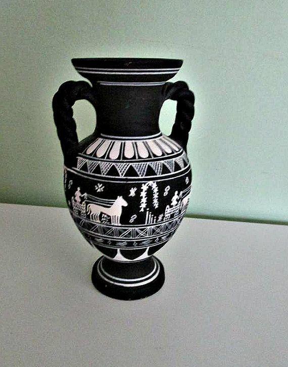 Fantastic Black And White Greek Vase Two Handles Hand Painted Amphora Shape Vase Roman Vase