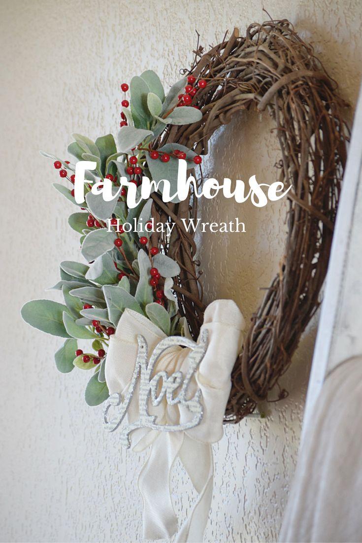 Farmhouse Holiday Wreath   Blog Hop | Timeless Creations, LLC #holidaywreathhop