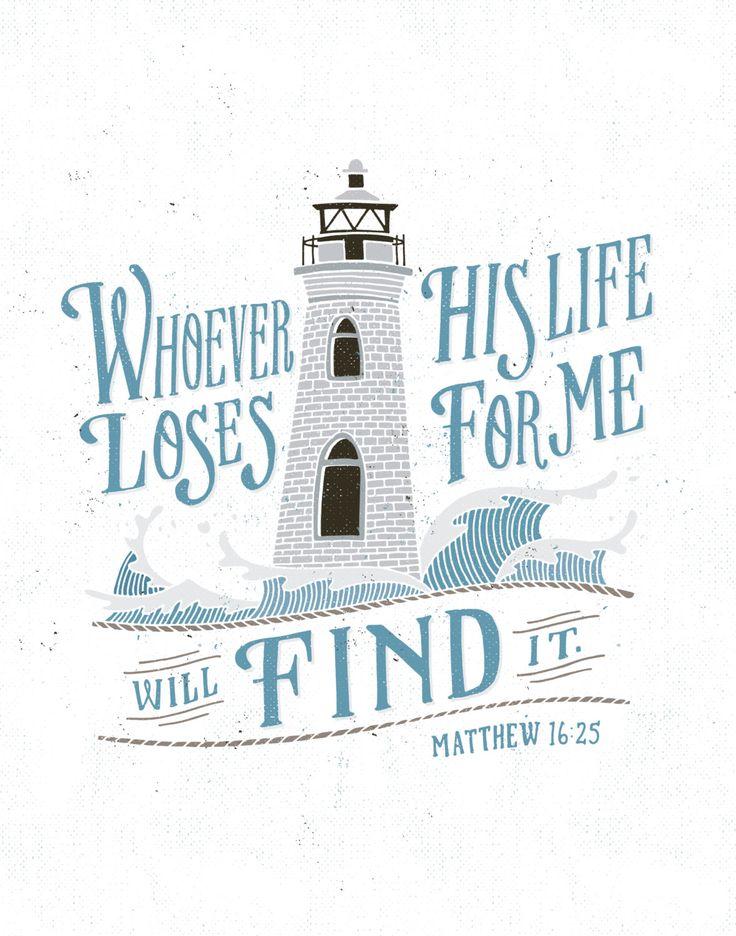 Matthew 16:25 Color Print por quietboystudio en Etsy