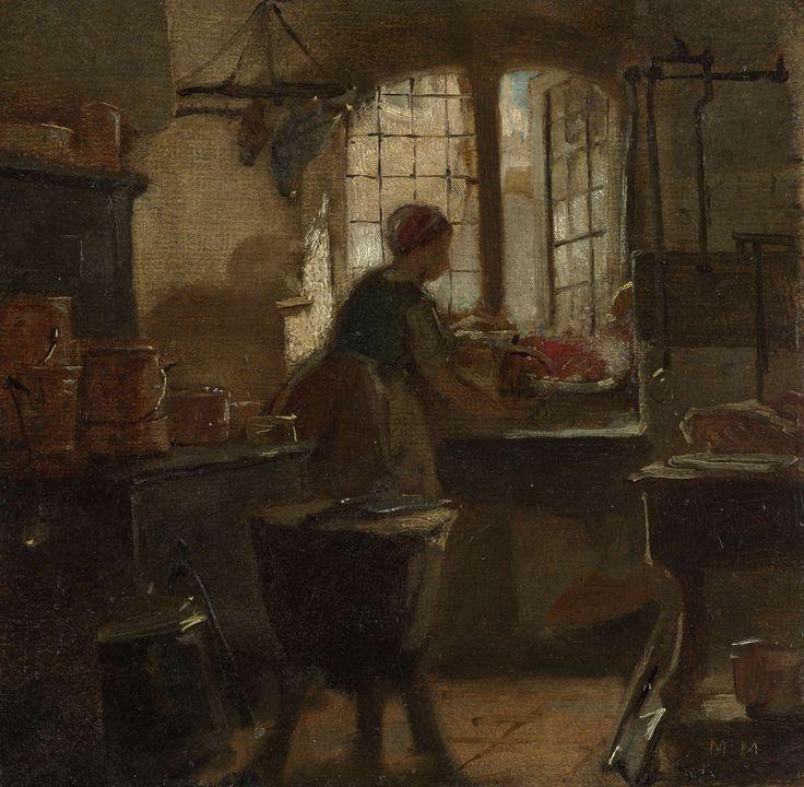 Matthijs Maris | Kitchen Interior, Matthijs Maris, 1859 | Interieur van een keuken, bij het venster is een vrouw aan het werk. Op de voorgrond een hakblok, links staan pannen op het fornuis.