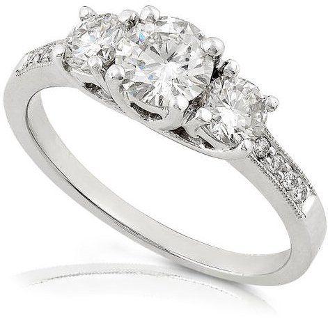 Amazon.com: 1/2ctw Three Stone Round Brilliant Diamond Engagement Ring (HI/SI) in 14K White Gold: Diamond-Me: Jewelry