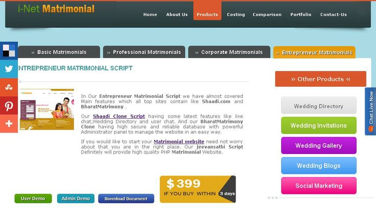 http://www.phpmatrimonialscript.in/entrepreneur-matrimony-script.html Our shaadi clone having some latest features like Wedding Directory, live chat and user chat. And our shaadi Clone also having high secure and reliable database with powerful Administrator panel to manage the website in an easy way.
