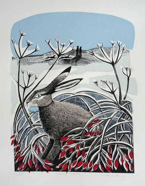 'Winter Hare', by Angela Harding (linocut)