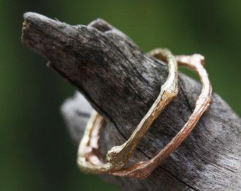 Set di 2 fedi nuziali a forma di ramoscello in argento 925