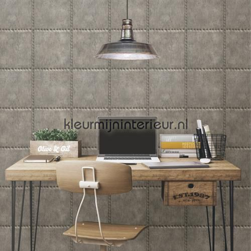Metal plate with nails grey behang FD22343 Industrieel Dutch Wallcoverings