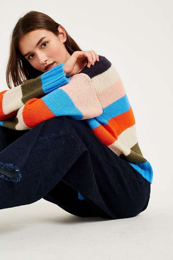 UO Multi-Colour Striped Jumper | Urban Outfitters