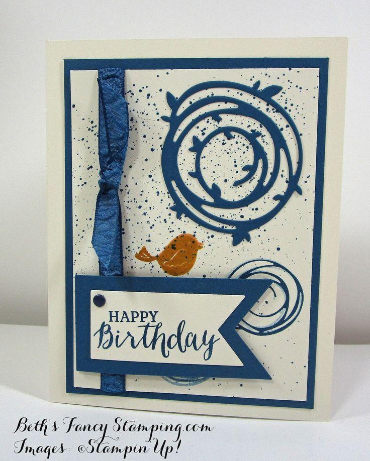 Swirly Bird Birthday Card.  (Pin#1: Geometrics/ Swirls. Pin+: Banners/ Flags; Background: Spritz/ Splatters).