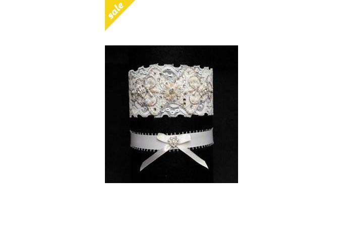 Vintage Lace, Crystal & Beadwork Garter by Creations de Splendeur