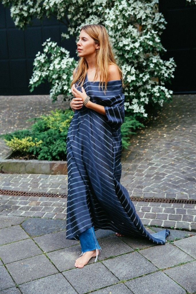Off The Shoulder Pinstripe Maxi Dress Over Frayed Denim Jeans