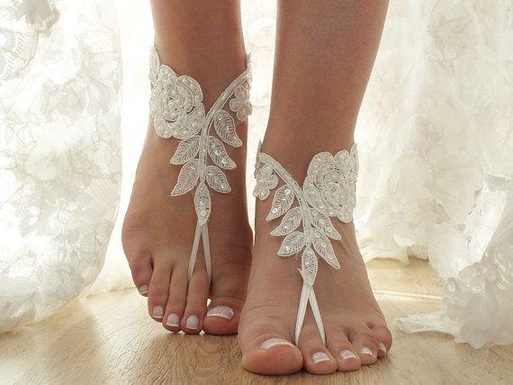 Free Ship ivory beaded pearls barefoot beach wedding anklet bellydance beach pool country wedding sexy feet bridesmad weddingday