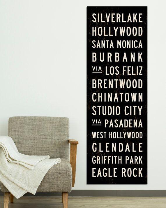 Arte della metropolitana di LOS ANGELES. Segno di transito. Poster di California retrò. Scorrimento di autobus. LA Tram rotolo stampa tela. Hollywood Sign. 20,5 x 60