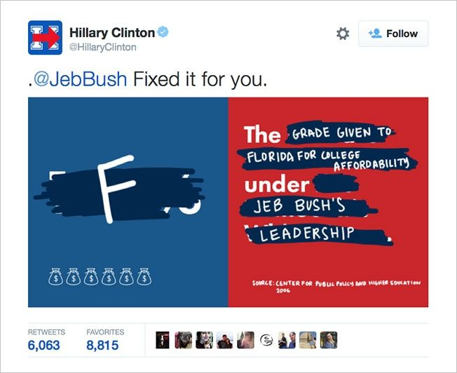 Hillary Clinton and Jeb Bush Are Having a Photoshop Battle on Twitter | Adweek