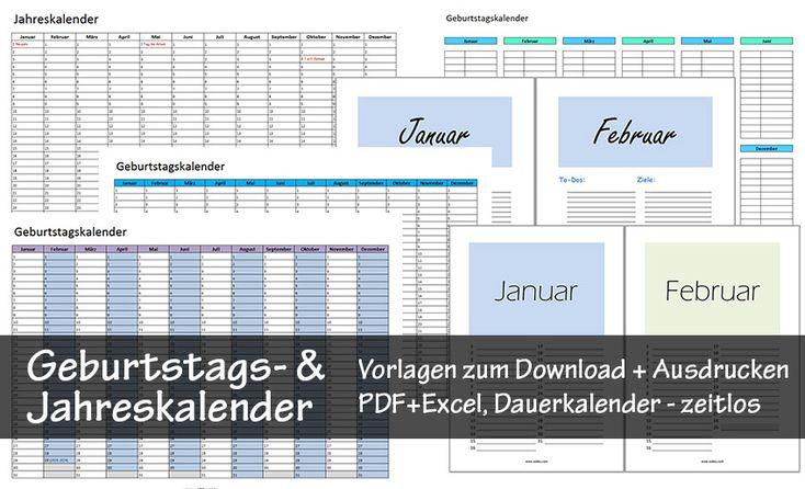 Kostenlose Geburtstagskalender zum Ausdrucken (PDF/Excel), Jahreskalender, Dauerkalender verschiedene gratis Vorlagen zum Download, zeitloser Kalender uvm.