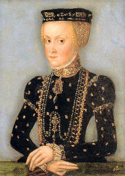 Portrait of Anna Jagiellonka by a Polish court painter, follower of Lucas Cranach the Younger,1555