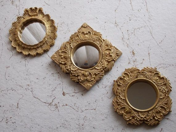 Vintage small ornate gold painted ceramic framed mirrors for Small gold framed mirrors