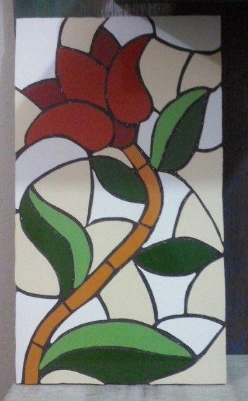 Acabei de fazer! Quadro tulipa em mosaico.