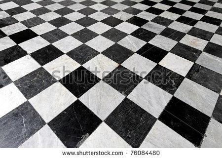 Stock Photo : Black And White Tiles In Checkers Pattern
