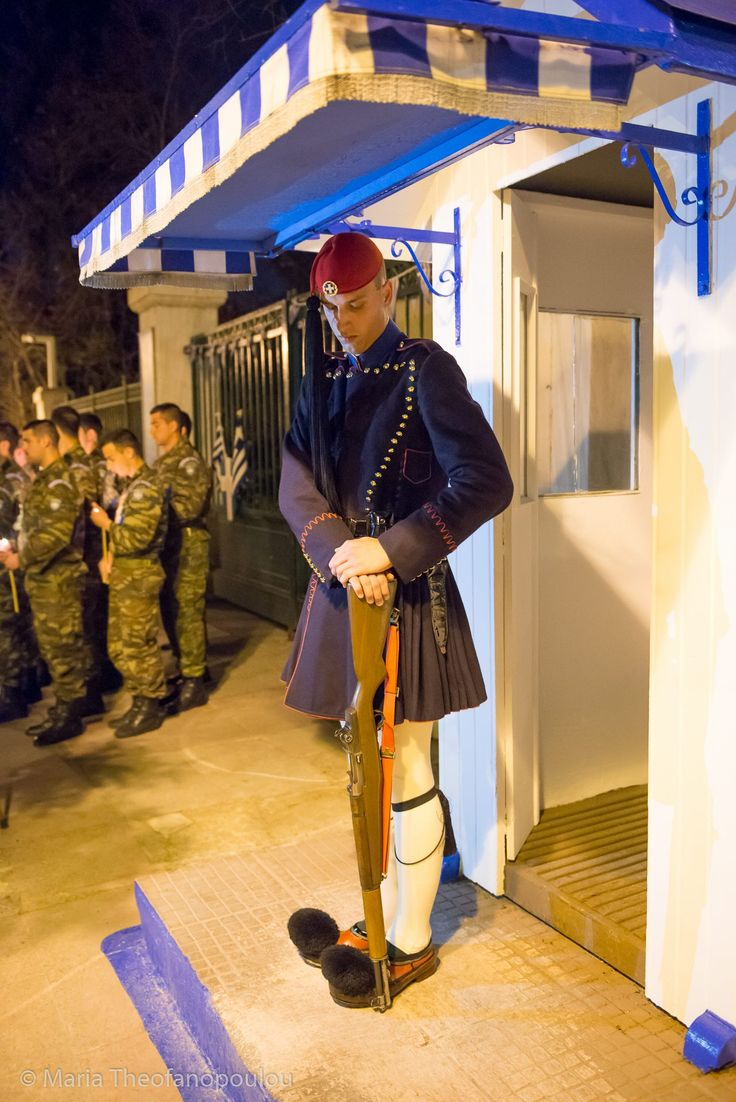 Unique posture of the presidential guard Evzone during Epitaphios on Holy Friday in Athens
