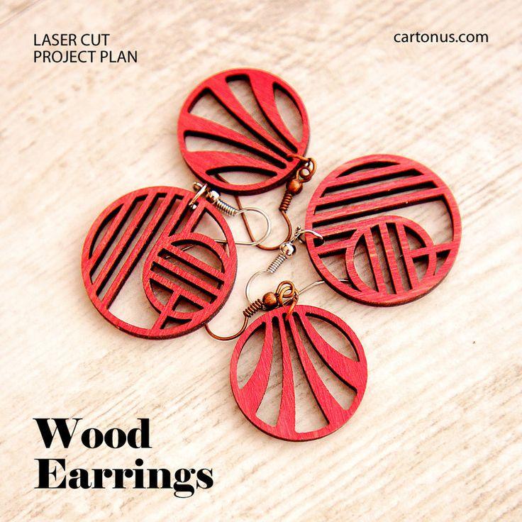 Wood art-deco earrings vector pattern. Free download.