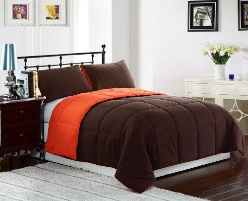 """3 Piece Reversible Goose Down Alternative Comforter Set, with Anti-Microbial finish, Tangerine, Orange, Brown Bed Cover KING Size Bedding by CozyBeddings. $44.99. 100% polyester, Micro Fiber Material. 1 KING Size Comforter 102x90"""". Polyester. Easy care machine. 2 Pillow Sham 20x36"""". Box stitching design to avoid any shifting. Great choice for bed covers! For those of you who are allergic to feathers but long for the warmness, Style and coziness of a comforter. This Comforter ha..."""