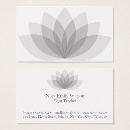 Elegant Grey Lotus Flower Business Cards Template Gifts Unique Customize Diy Personalize