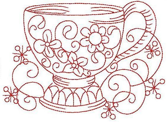 simple embroidery designs for beginners | Embroidery: Redwork Teacup 6 Hand Embroidery 3 Sizes