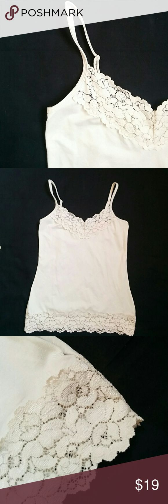 WHBM Cami -XS Neutral Cami with Lace Detail on top and bottom. Exellent condition, adjustable straps, color is Khaki/Neutral (hard to photo) White House Black Market Tops Camisoles